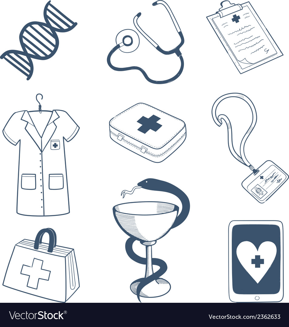 Medical staff icons collection vector | Price: 1 Credit (USD $1)
