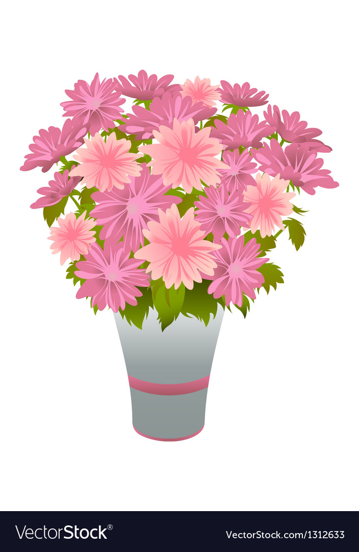 Pink asters in blue vase vector | Price: 1 Credit (USD $1)