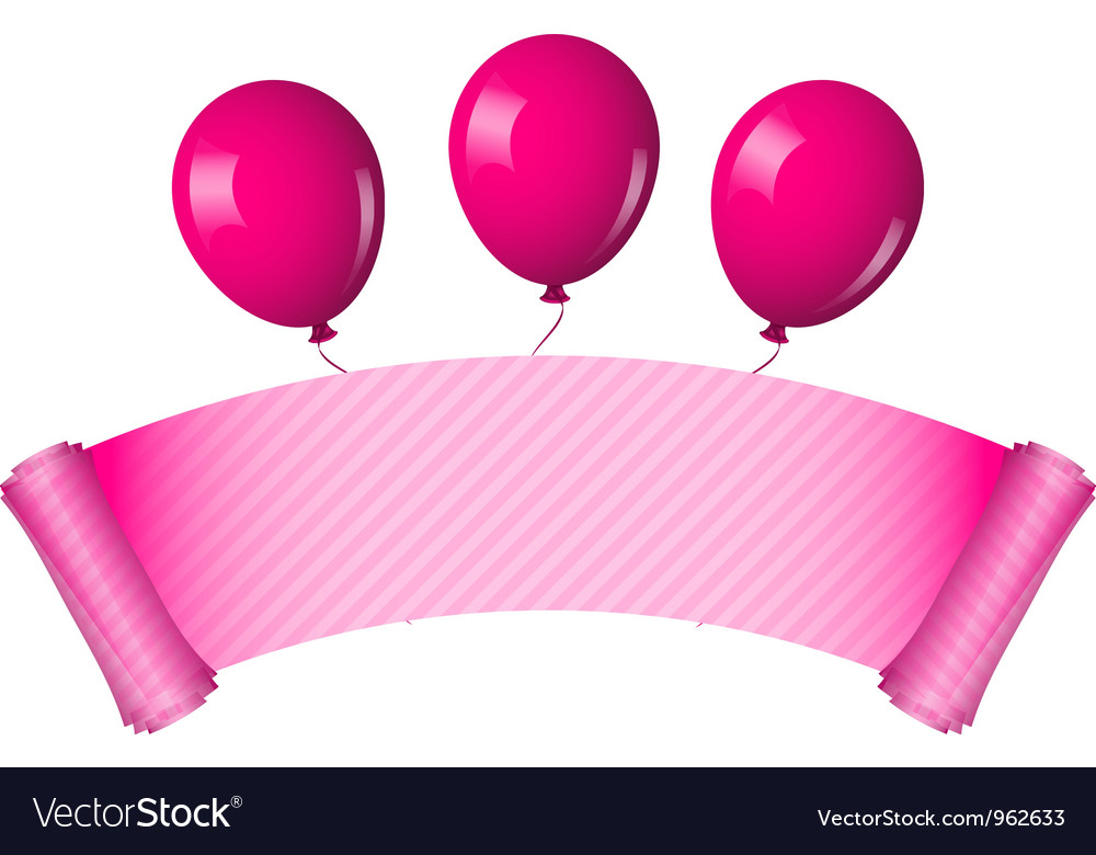 Pink scroll with balloons vector | Price: 1 Credit (USD $1)