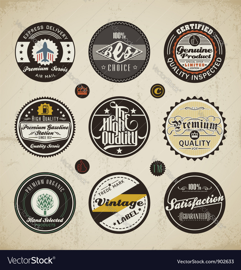 Retro labels collection vector | Price: 3 Credit (USD $3)