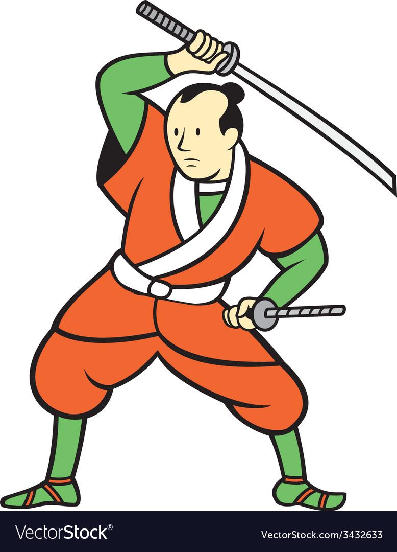 Samurai warrior wielding katana sword cartoon vector | Price: 1 Credit (USD $1)