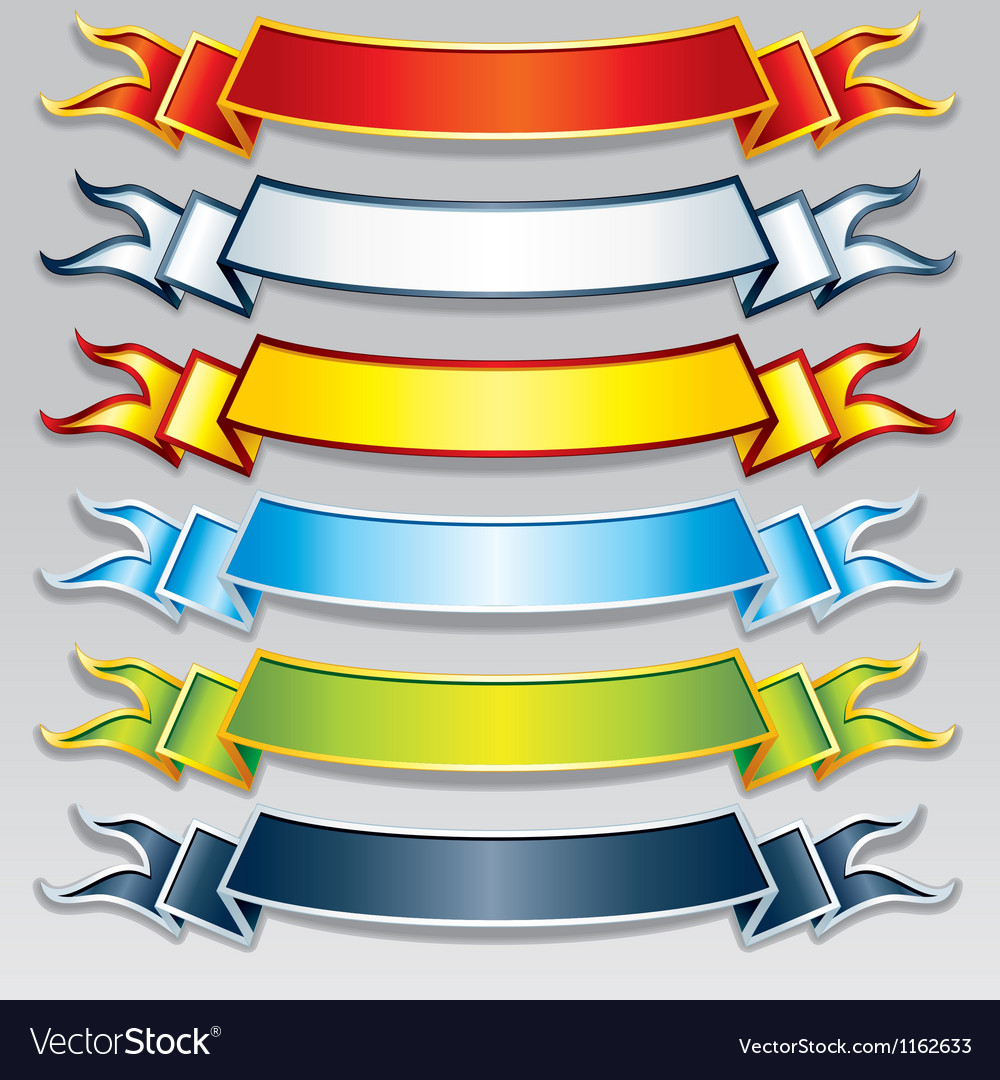Set of colorful ribbons and banners image vector | Price: 1 Credit (USD $1)