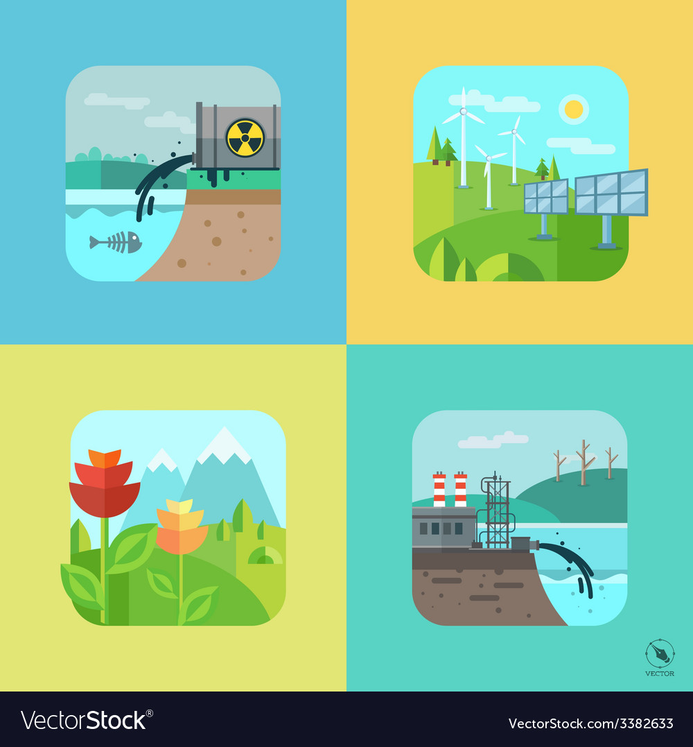 Urban and village landscape ecology environment vector | Price: 3 Credit (USD $3)