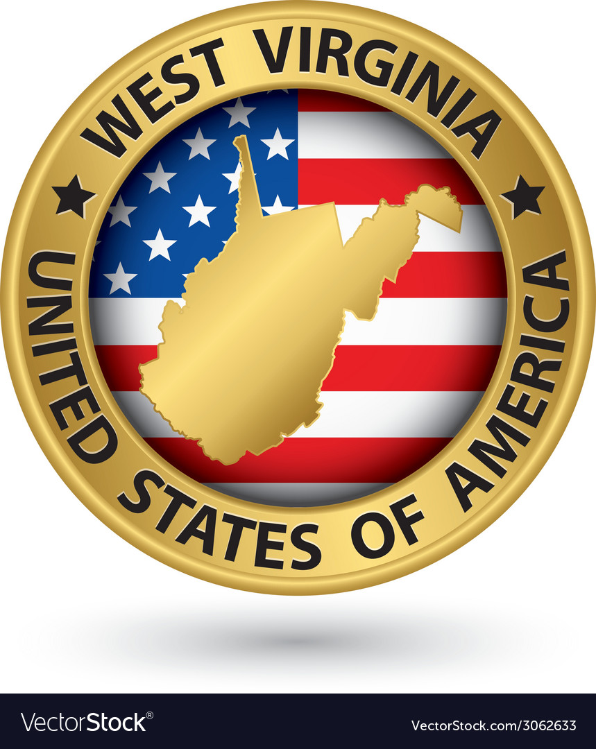 West virginia state gold label with state map vector | Price: 1 Credit (USD $1)