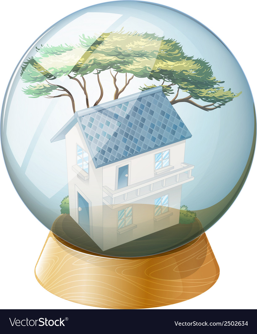 A big house inside the crystal ball vector | Price: 1 Credit (USD $1)