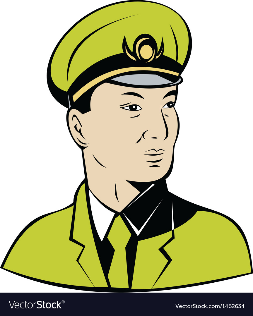 Asian military army officer vector | Price: 1 Credit (USD $1)