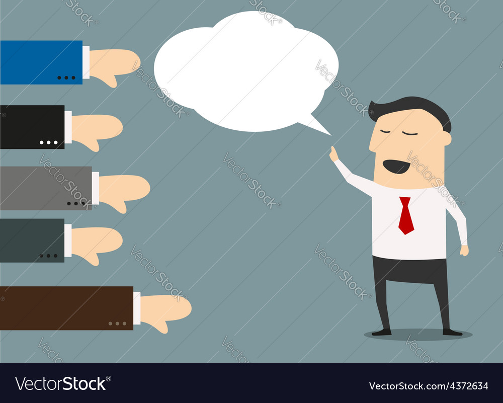 Cartoon businessman with negative feedback vector | Price: 1 Credit (USD $1)