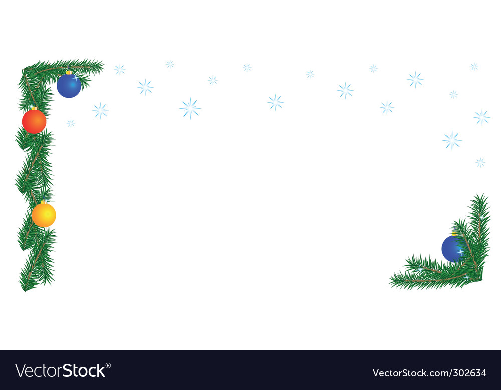 Christmas border on white background vector | Price: 1 Credit (USD $1)