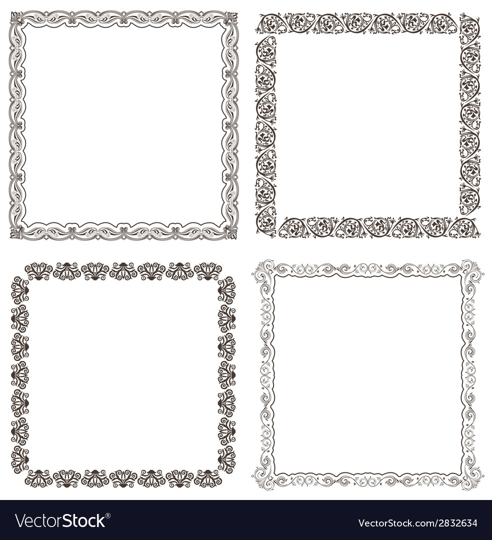 Frames set ornate and vintage design vector | Price: 1 Credit (USD $1)