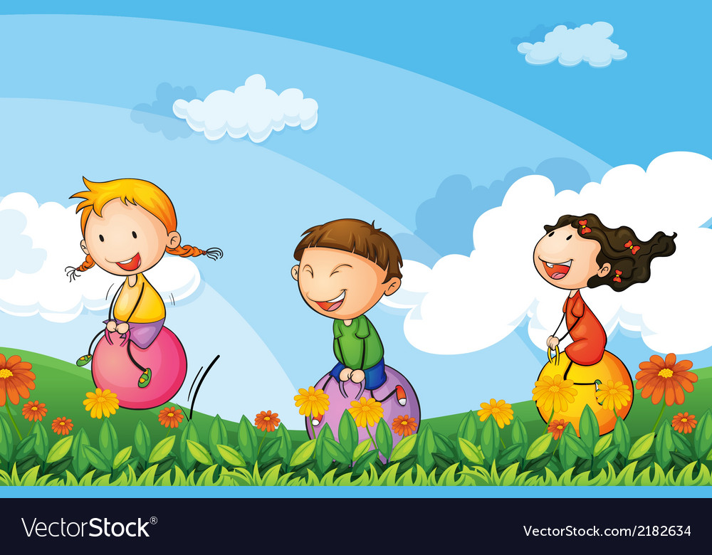 Kids playing with the bouncing balloons vector | Price: 1 Credit (USD $1)