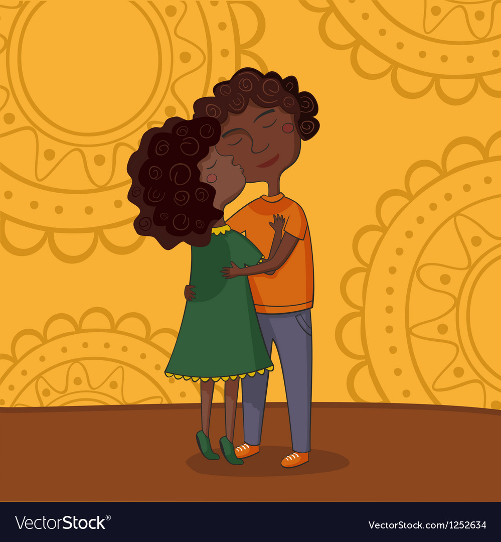 Multicultural boy and girl kissing vector | Price: 1 Credit (USD $1)