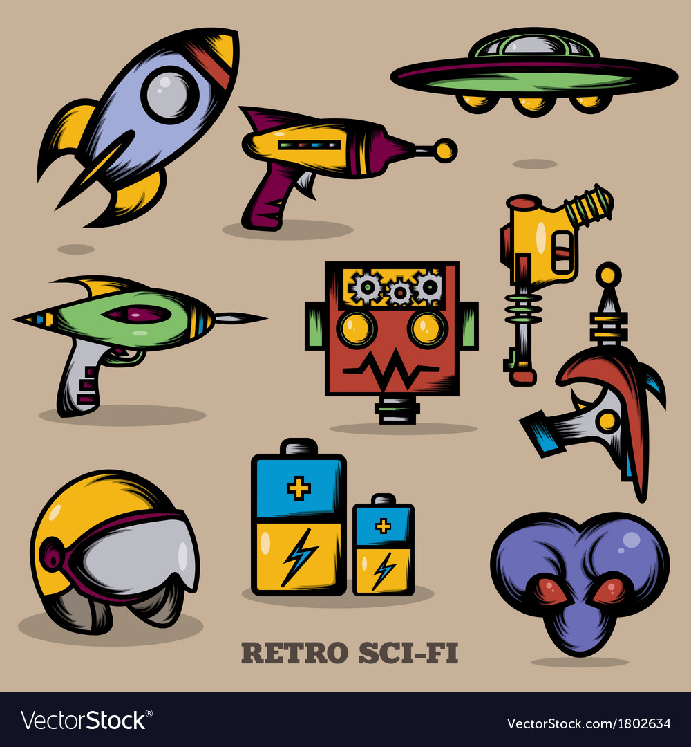 Sci fi retro vector | Price: 1 Credit (USD $1)