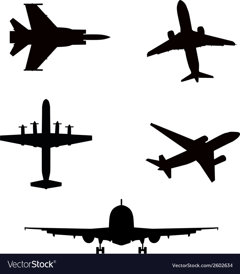 Silhouette airplanes airbus or plane vector | Price: 1 Credit (USD $1)