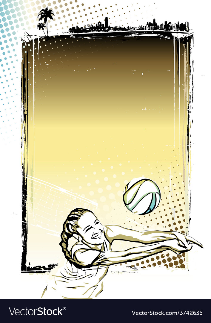 Beach volley poster background vector | Price: 1 Credit (USD $1)