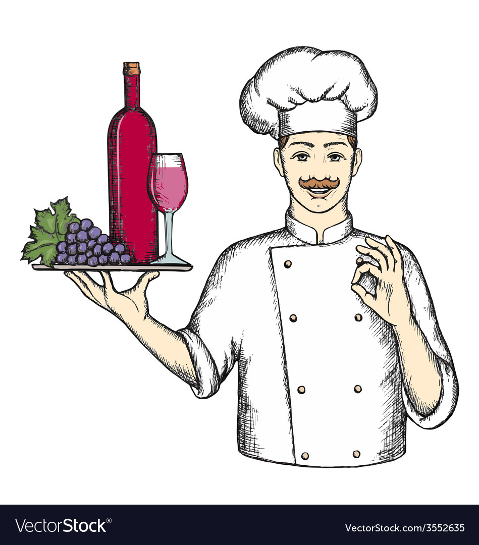 Chef with a tray of wine and grapes vector | Price: 1 Credit (USD $1)