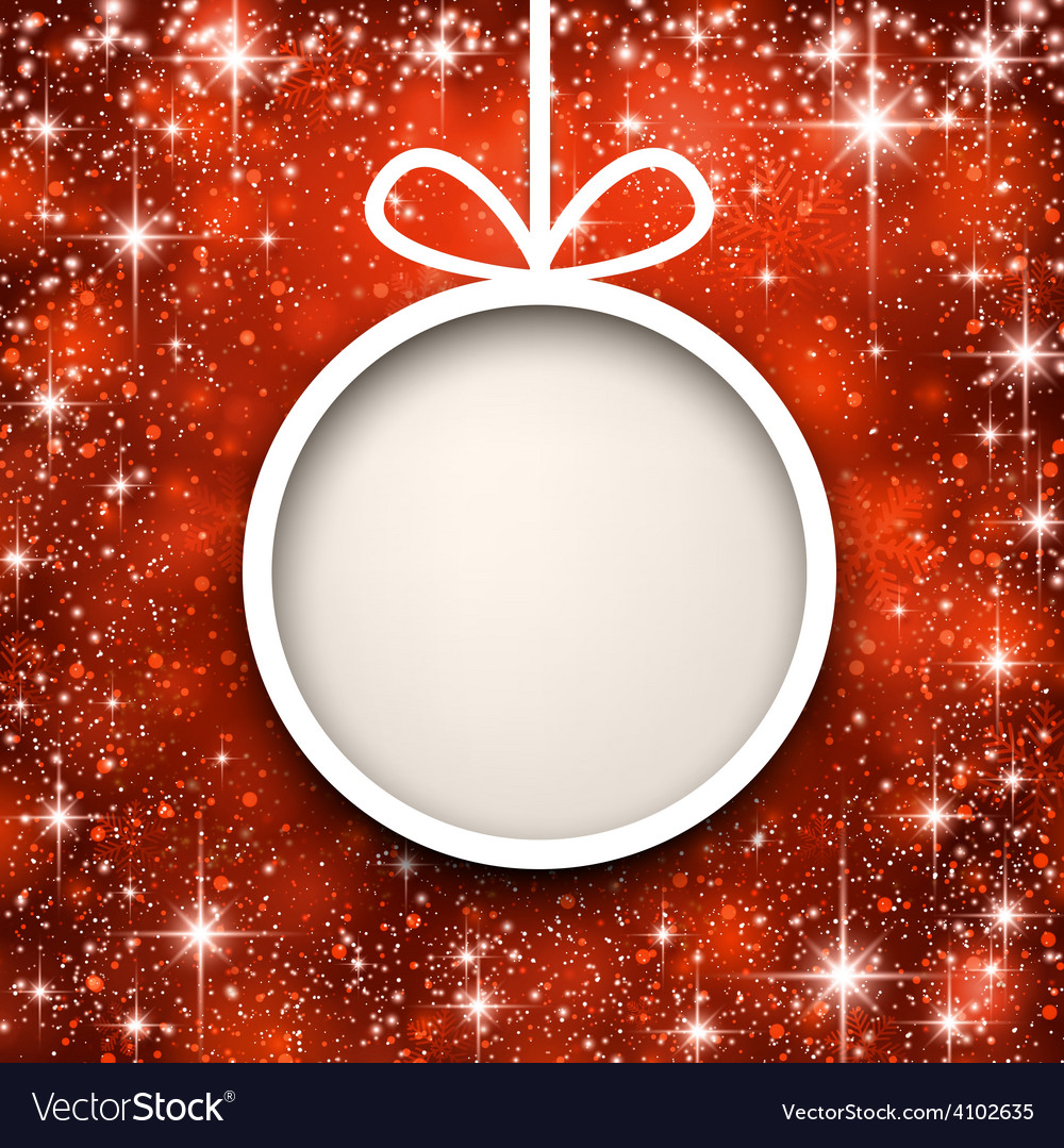 Christmas paper ball on red background vector | Price: 1 Credit (USD $1)