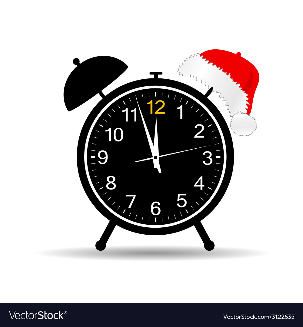 Clock with new year hat vector | Price: 1 Credit (USD $1)