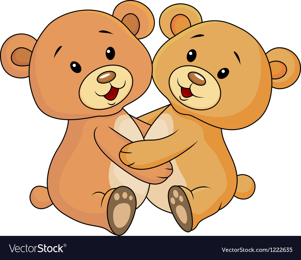 Cute bear embrace each other vector | Price: 3 Credit (USD $3)