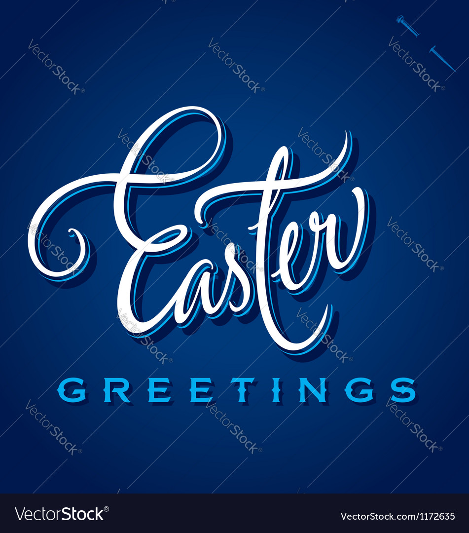 Easter greetings hand lettering vector | Price: 1 Credit (USD $1)
