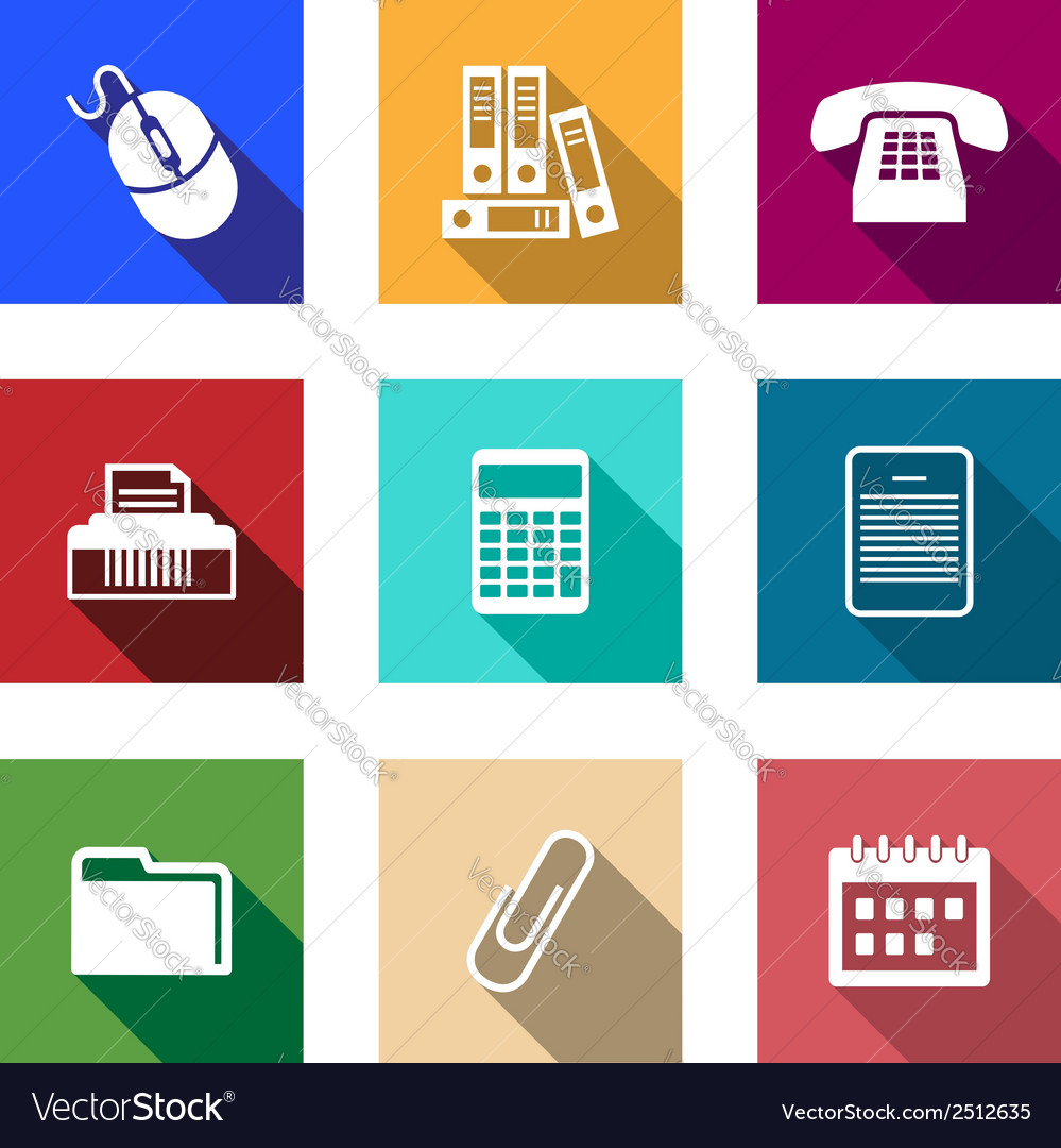 Flat office supply icons vector | Price: 1 Credit (USD $1)