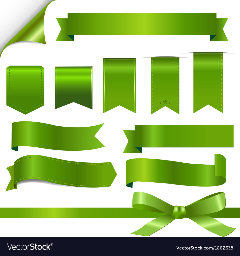 Green ribbons set vector | Price: 1 Credit (USD $1)
