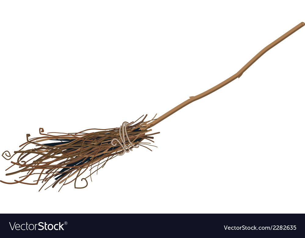 Old broom isolated vector | Price: 1 Credit (USD $1)