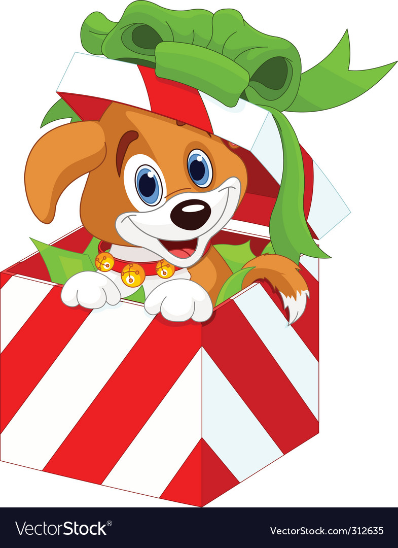 Puppy in christmas gift box vector | Price: 3 Credit (USD $3)
