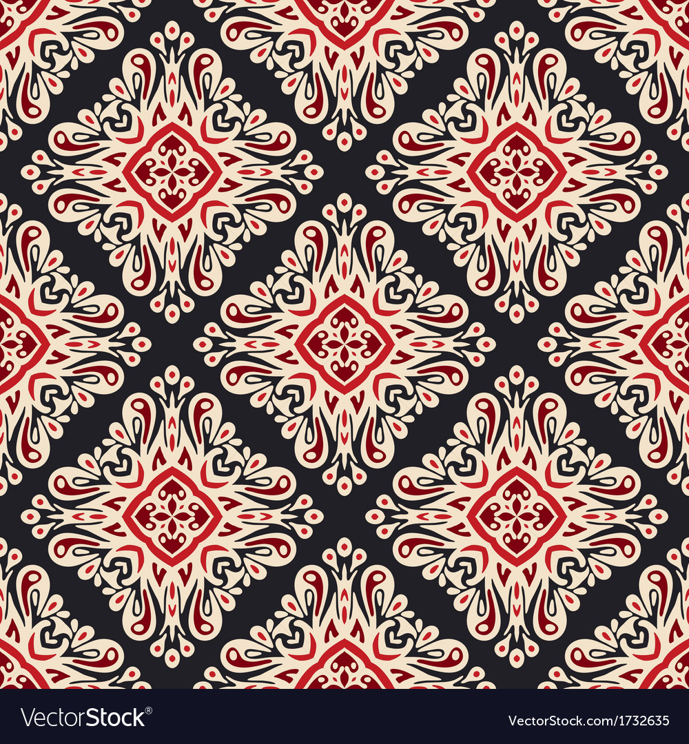 Seamless ethnic style damask pattern vector | Price: 1 Credit (USD $1)