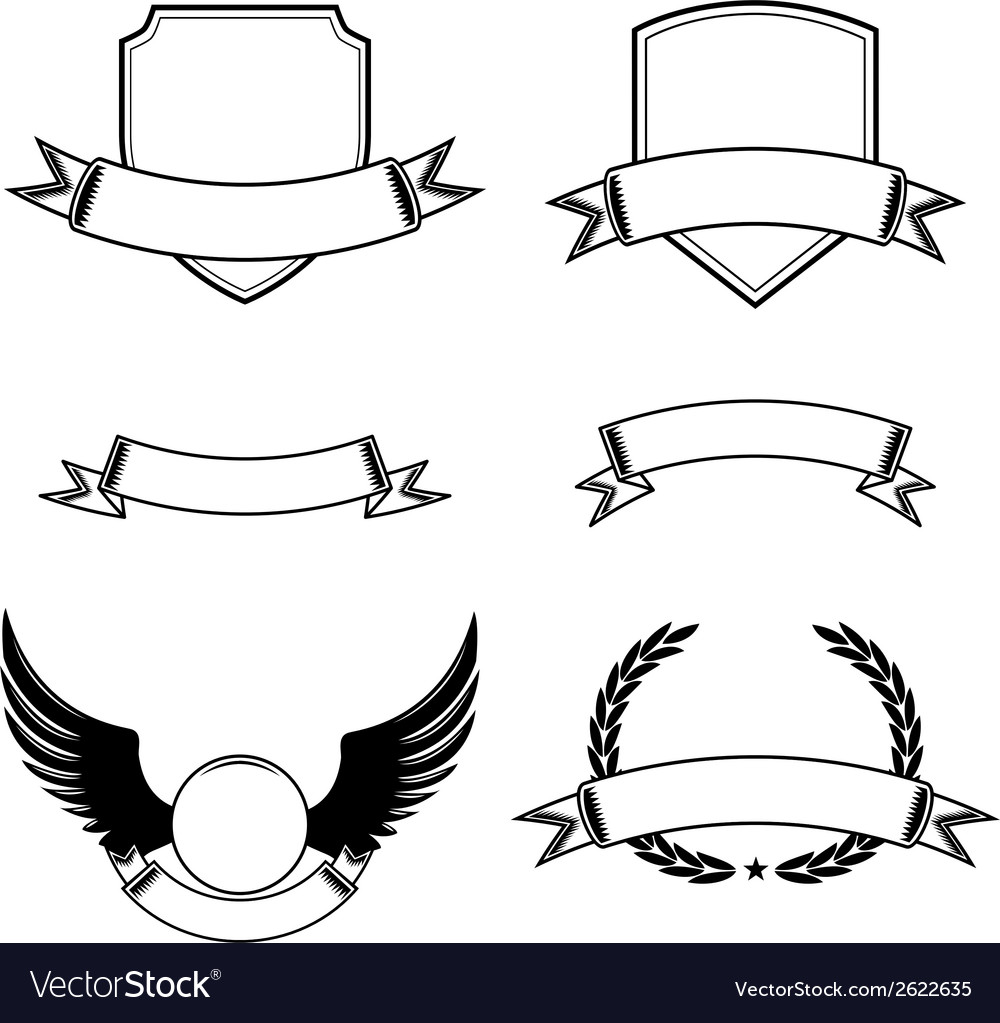 Set of decorative frames with ribbon emblems vector | Price: 1 Credit (USD $1)