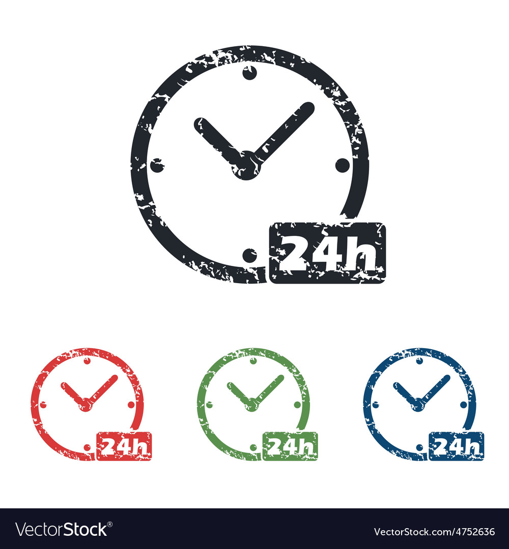 24h workhours grunge icon set vector | Price: 1 Credit (USD $1)