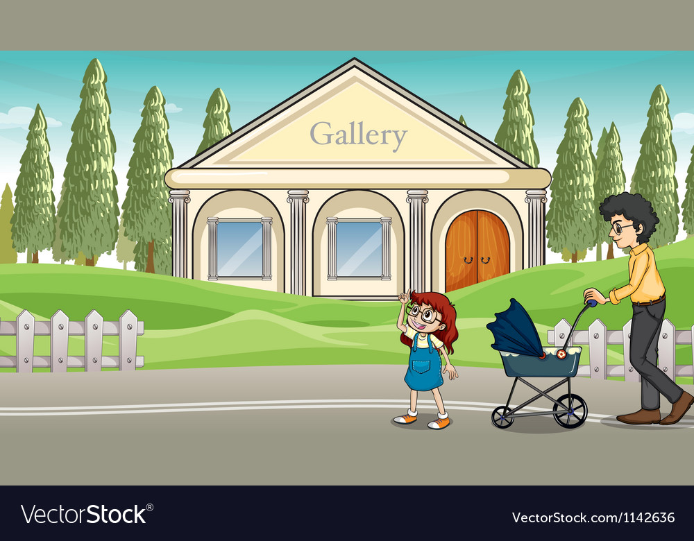 A mother with her child strolling vector | Price: 1 Credit (USD $1)