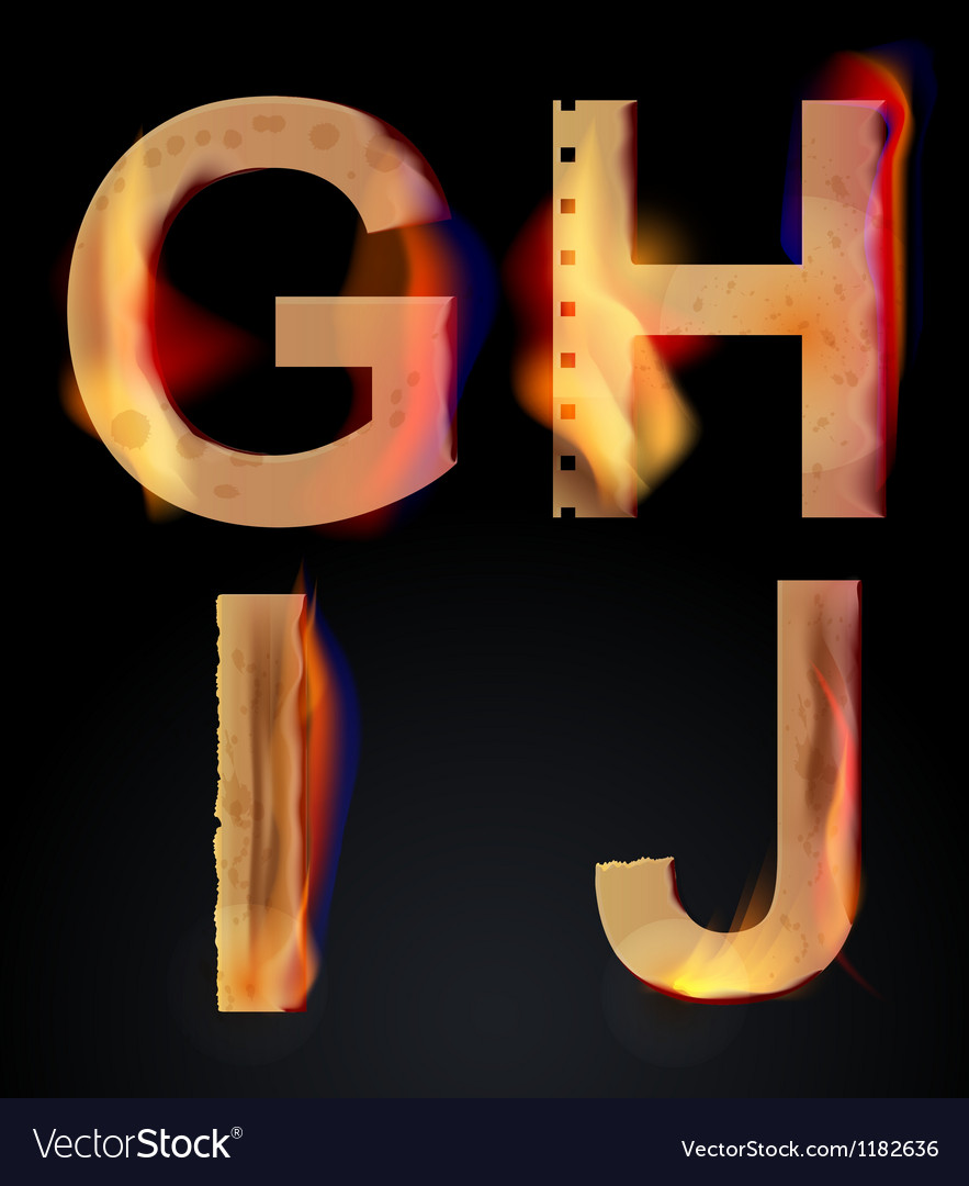 Burning letters ghij vector | Price: 1 Credit (USD $1)
