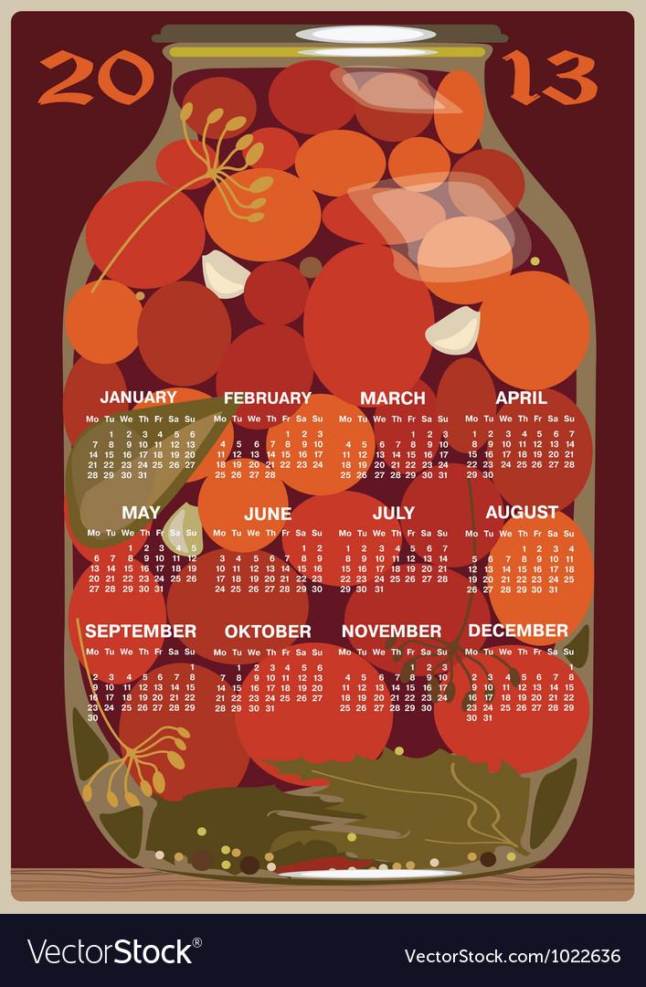 Calendar 2013 tomatoes vector | Price: 1 Credit (USD $1)
