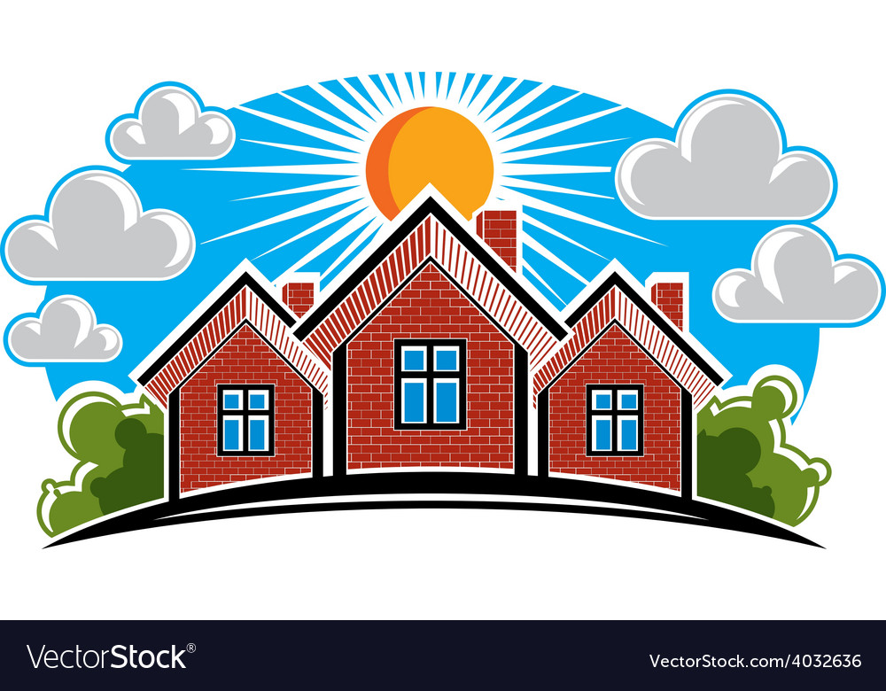Colorful of country houses on sunny background vector | Price: 1 Credit (USD $1)