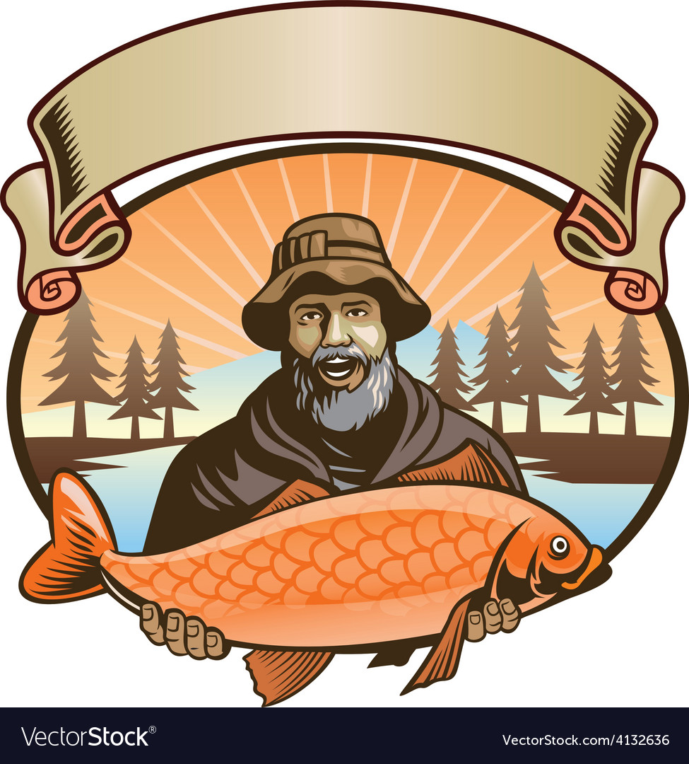 Fisherman show his fish vector | Price: 3 Credit (USD $3)