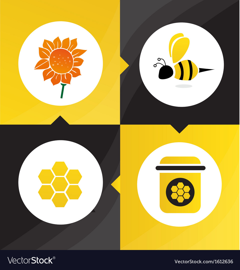 Honey bee flower vector | Price: 1 Credit (USD $1)