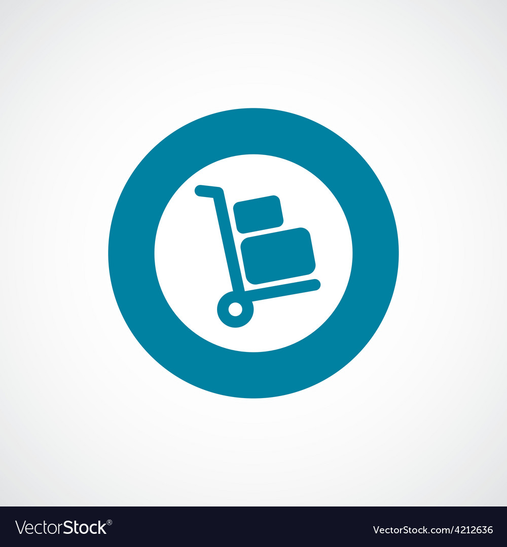 Luggage trolley icon bold blue circle border vector | Price: 1 Credit (USD $1)