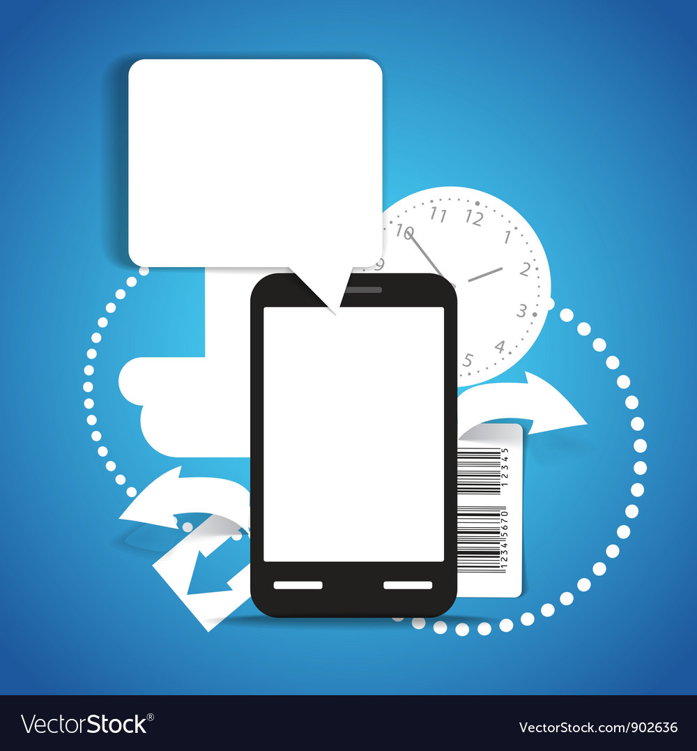 Modern mobile phone with communication cloud vector | Price: 1 Credit (USD $1)