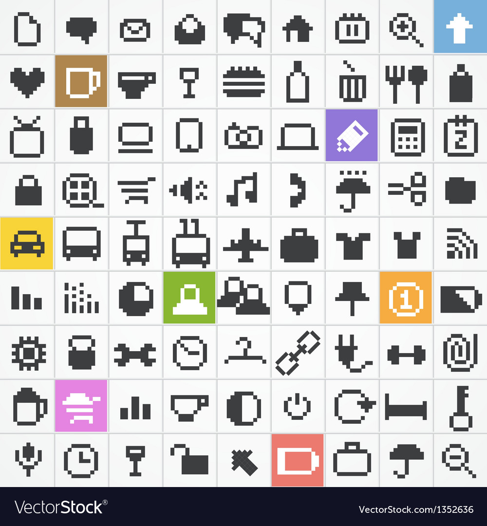 Pixel web icons collection vector | Price: 1 Credit (USD $1)