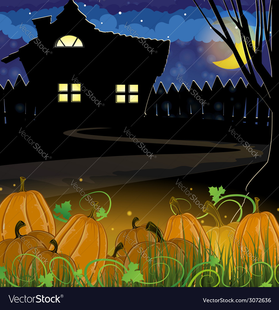 Pumpkins and house vector | Price: 3 Credit (USD $3)