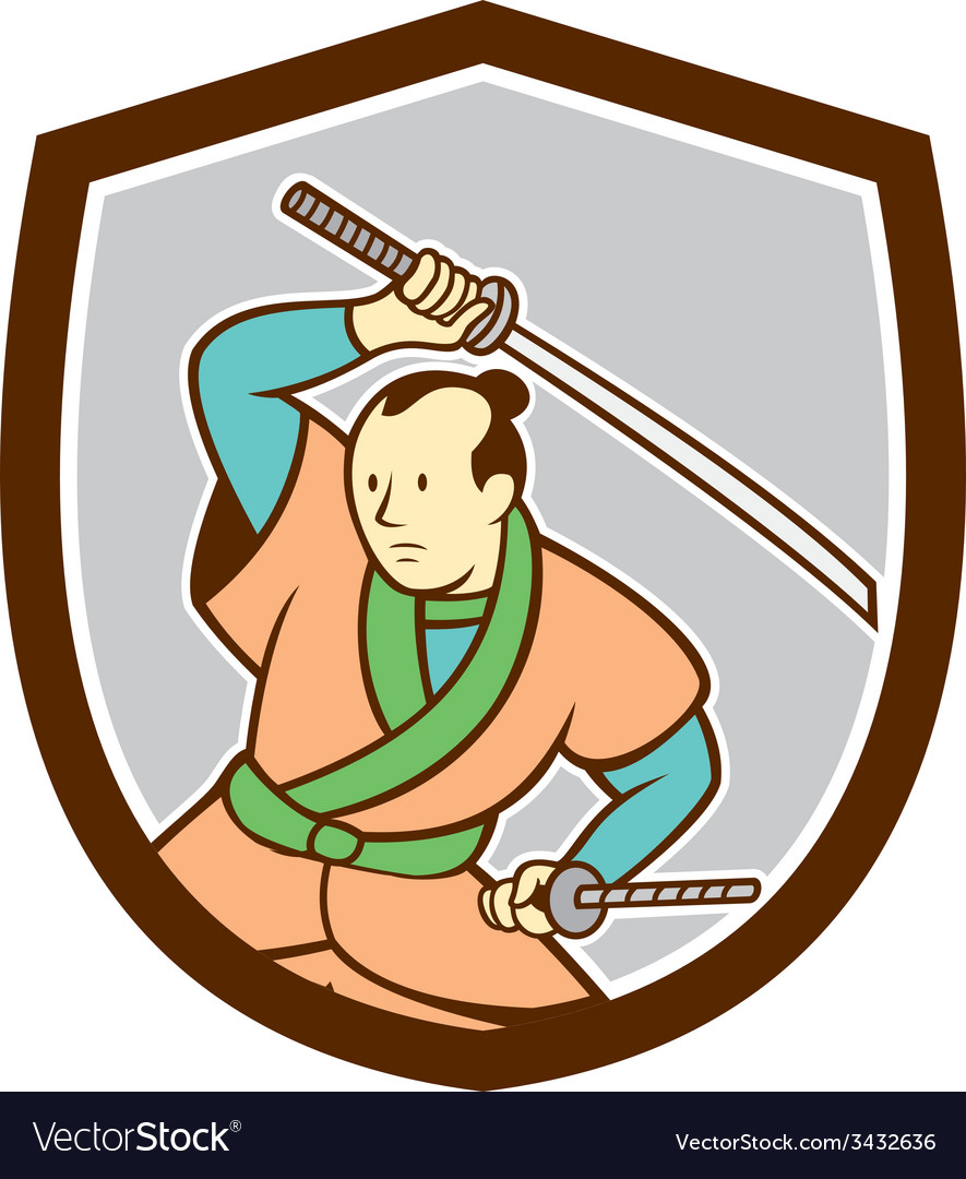 Samurai warrior katana sword shield cartoon vector | Price: 1 Credit (USD $1)