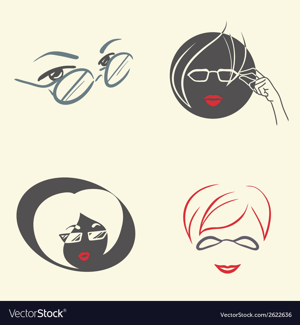 Set of emblems with glasses vector | Price: 1 Credit (USD $1)