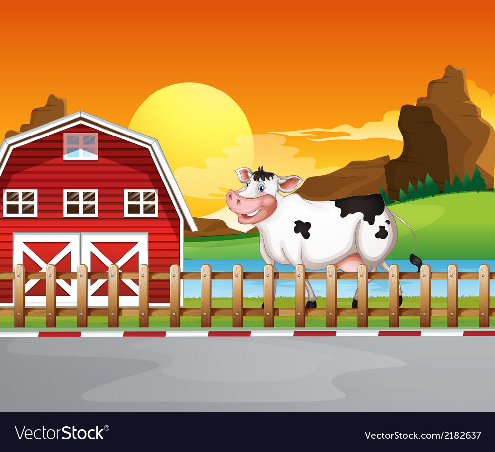 A cow beside the wooden barnhouse vector | Price: 3 Credit (USD $3)