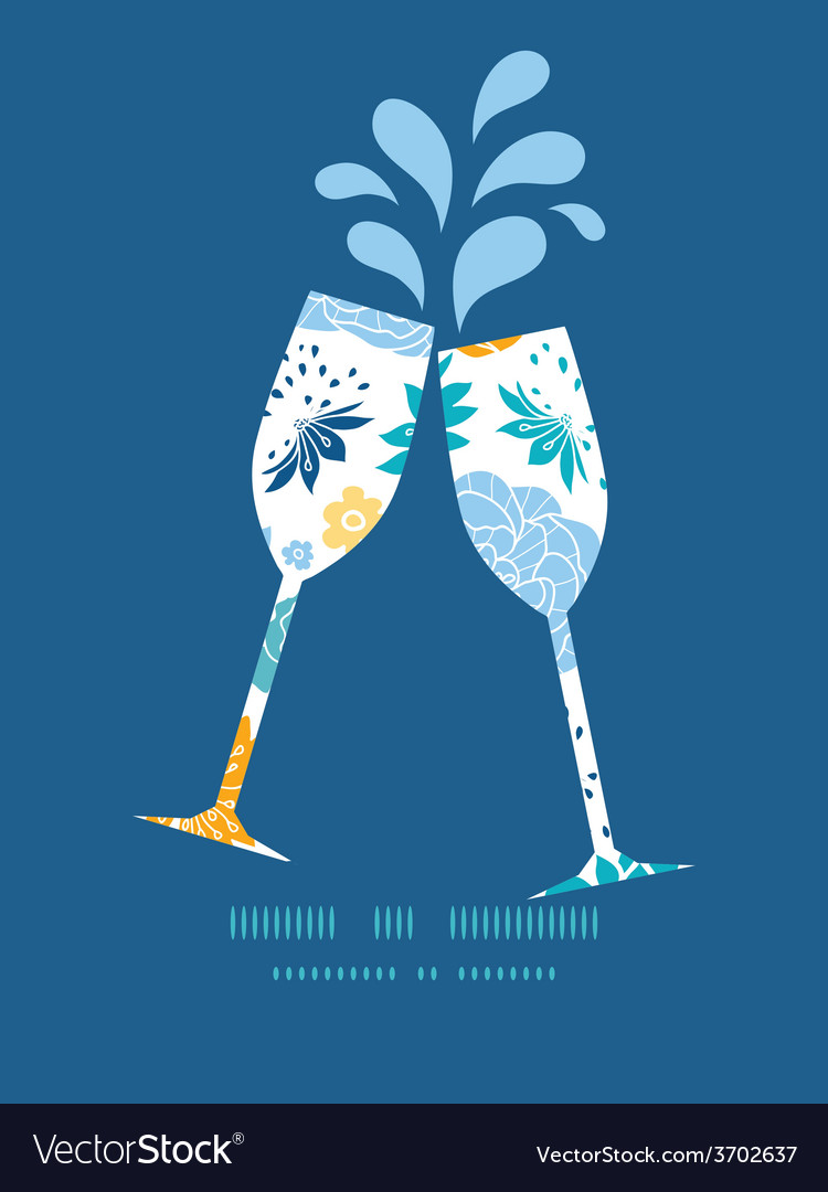 Blue and yellow flowersilhouettes toasting vector   Price: 1 Credit (USD $1)