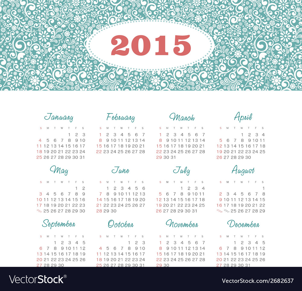 Calendar 2015 year with decorative pattern vector | Price: 1 Credit (USD $1)