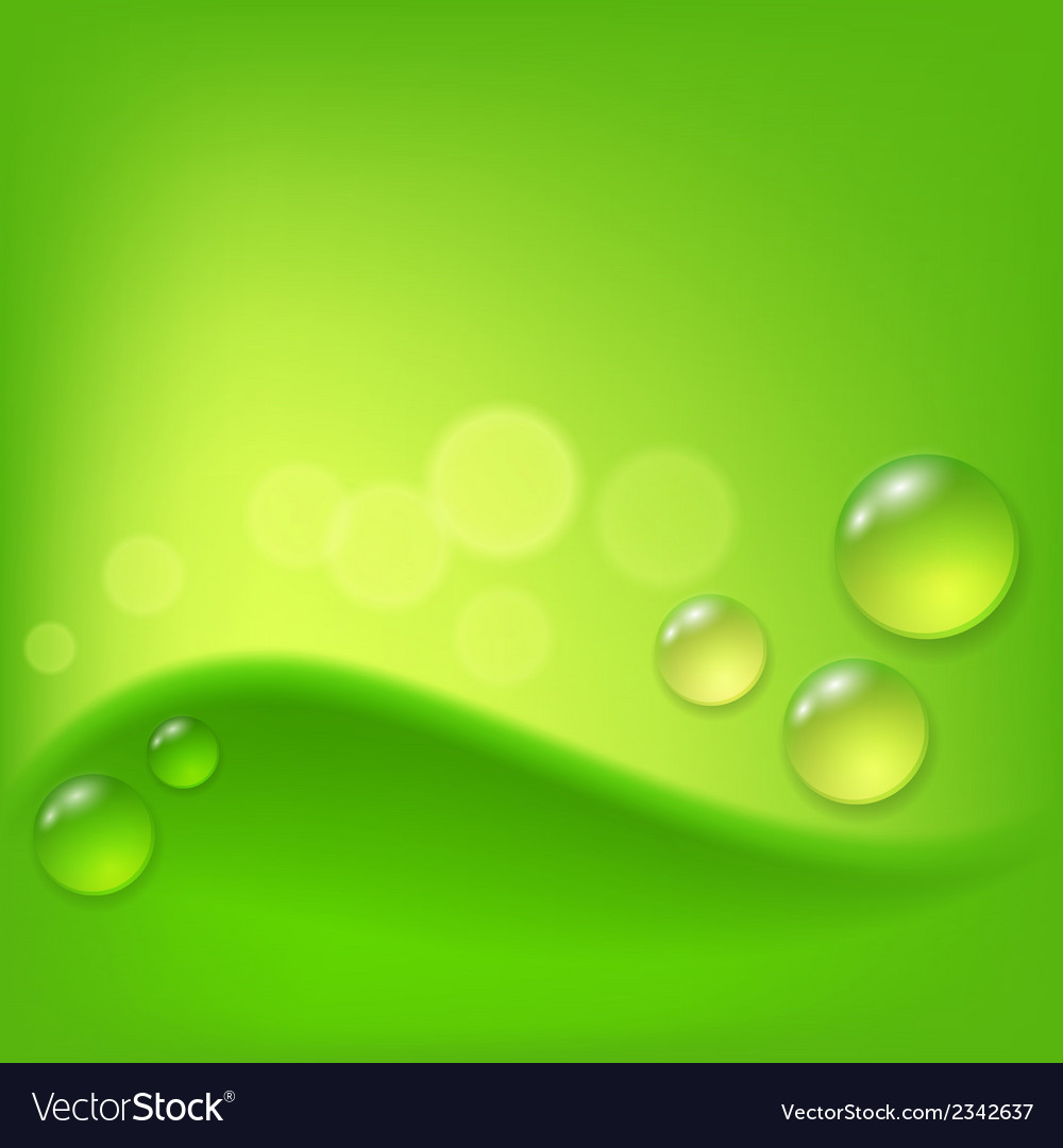 Green abstract background with drop of dew vector | Price: 1 Credit (USD $1)