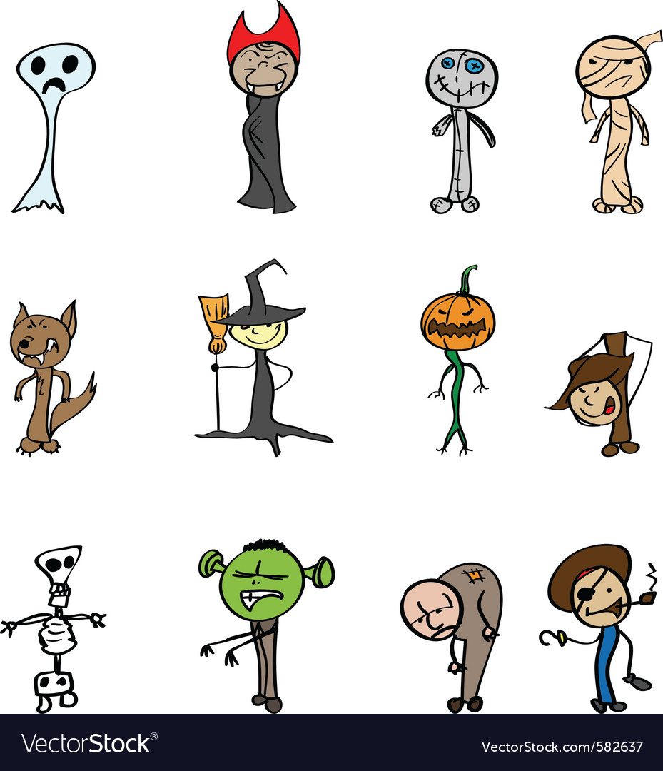 Halloween characters vector | Price: 1 Credit (USD $1)