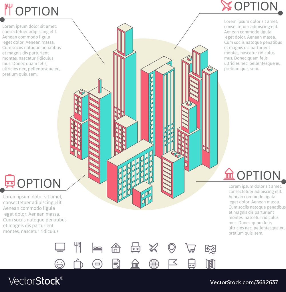 Infographic made of colorful buildings vector | Price: 1 Credit (USD $1)