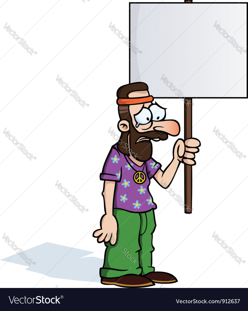 Sad hippie with protest sign vector | Price: 3 Credit (USD $3)
