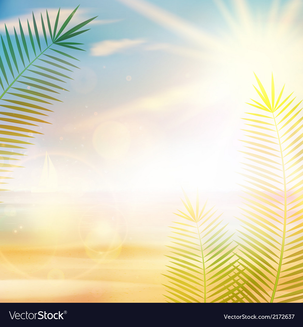 Tropical vintage palm background design vector | Price: 1 Credit (USD $1)